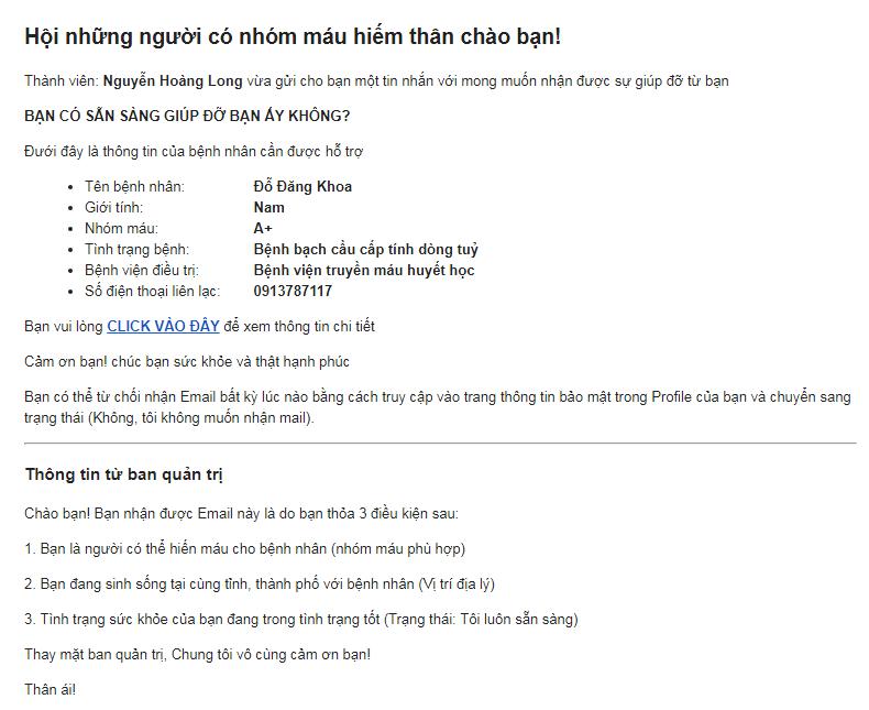 Mẫu email yêu cầu giúp đỡ được gửi tới thành viên có thể giúp đỡ bệnh nhân